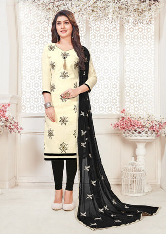 Off White Color South Cotton Women's Semi-Stitched Salwar Suit - 46385
