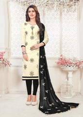 Buy Off White Color South Cotton Women's Semi-Stitched Salwar Suit