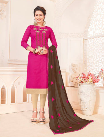Magenta Color South Cotton Women's Semi-Stitched Salwar Suit - 46394