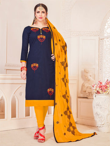 Navy Blue Color South Cotton Women's Semi-Stitched Salwar Suit - 46395
