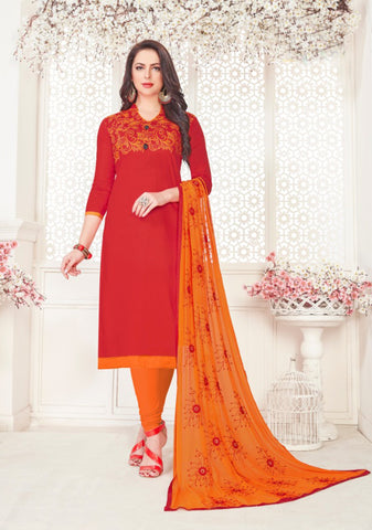 Red Color Satin Cotton Women's Semi-Stitched Salwar Suit - 46407