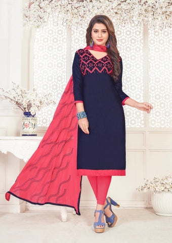 Navy Blue Color Satin Cotton Women's Semi-Stitched Salwar Suit - 46408