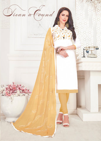 White Color Satin Cotton Women's Semi-Stitched Salwar Suit - 46411