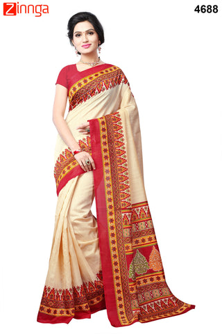 OffWhite and Red Color Bhagalpuri Sarees - 4693