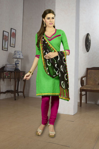 Green and Magenta Color Chanderi Silk Un Stitched Salwars - 47007