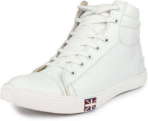 White Color Synthetic Leather Shoes - 473-WHITE