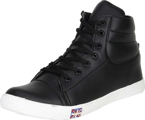 Black Color Synthetic Leather Shoes - 474-BLACK