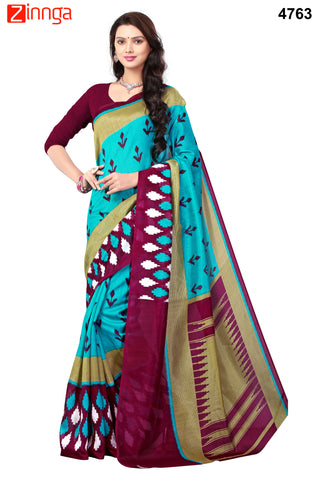 SkyBlue and Purple Color Bhagalpuri Sarees - 4771