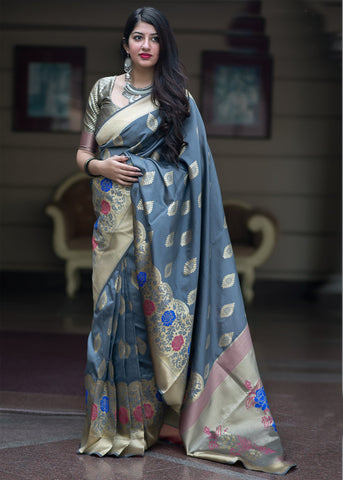 Aqua Blue Color Banarasi Silk Women's Saree - 47922