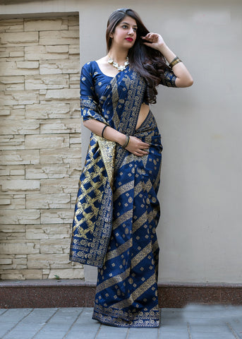 Navy Blue Color Banarasi Silk Women's Saree - 47925