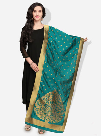 Green Color Banarasi Silk Women's Dupatta - 49996