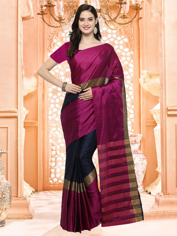 Magenta Color Silk Cotton Saree - 4AURA4001