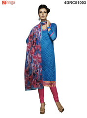 Blue Color Chanderi Dress Material