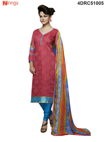 Red Color Chanderi Dress Material  - 4DRC51005