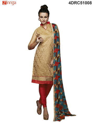 Beige Color Chanderi Dress Material  - 4DRC51008