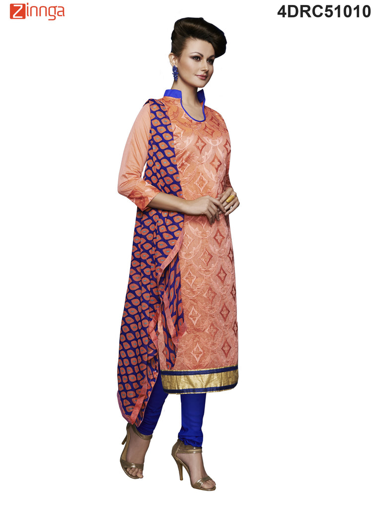 Orange Color Chanderi Dress Material