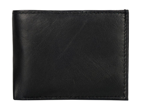 Black Color Genuine Leather Mens Wallet - 506RFID-BLACK