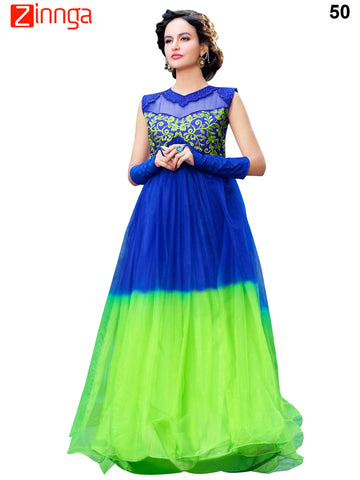 Blue and Green Color Rasal Net Stylus Gown - 50