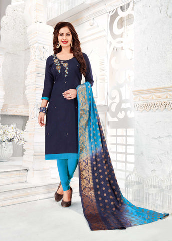 Blue Color South Slub Cotton Women's Semi-Stitched Salwar Suit - 51114