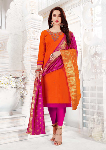 Orange Color South Slub Cotton Women's Semi-Stitched Salwar Suit - 51115