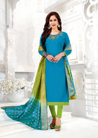 Sky Blue Color South Slub Cotton Women's Semi-Stitched Salwar Suit - 51116