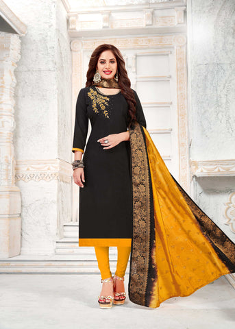 Black Color South Slub Cotton Women's Semi-Stitched Salwar Suit - 51117
