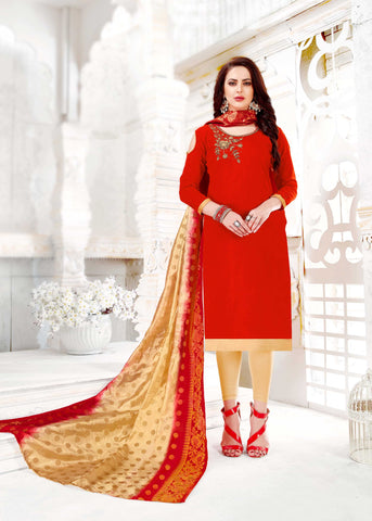 Red Color South Slub Cotton Women's Semi-Stitched Salwar Suit - 51118
