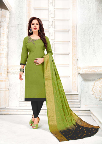 Green Color South Slub Cotton Women's Semi-Stitched Salwar Suit - 51119