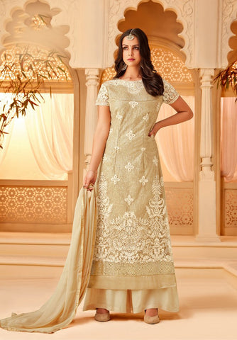 Beige Color Net Semi Stitched Salwar - 5111C