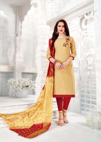 Beige Color South Slub Cotton Women's Semi-Stitched Salwar Suit - 51120
