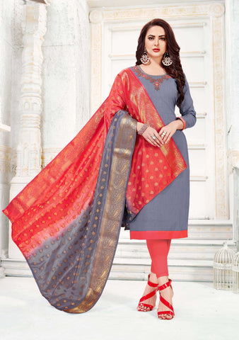 Grey Color South Slub Cotton Women's Semi-Stitched Salwar Suit - 51122