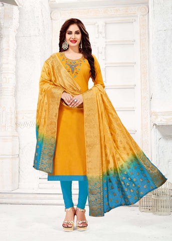 Yellow Color South Slub Cotton Women's Semi-Stitched Salwar Suit - 51123