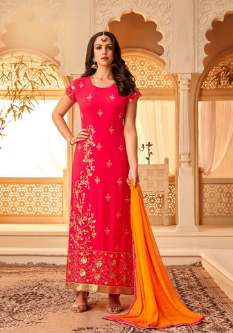 Red Color Georgette Semi Stitched Salwar - 5112B