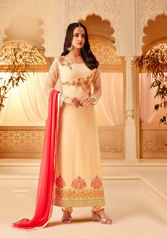 Cream Color Georgette Semi Stitched Salwar - 5113A