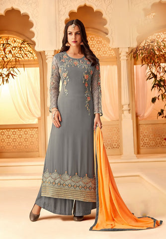 Grey Color Georgette Semi Stitched Salwar - 5114B