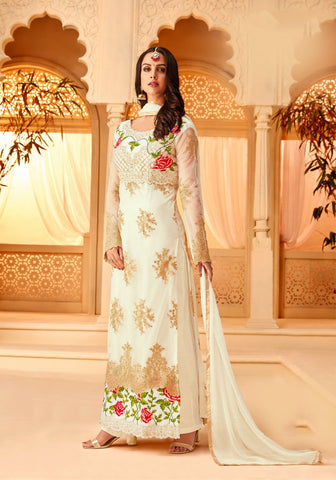 White Color Net Semi Stitched Salwar - 5115A