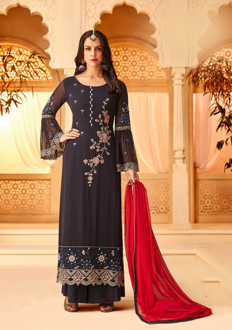 Black Color Georgette Semi Stitched Salwar - 5116B