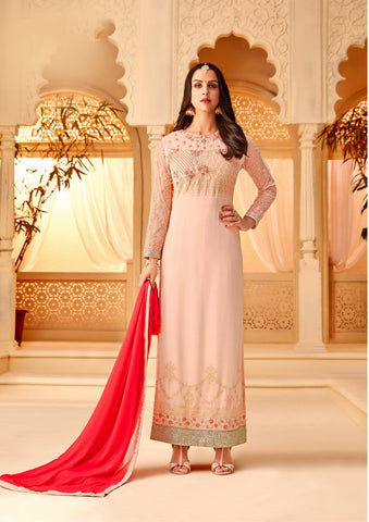 Pink Color Georgette Semi Stitched Salwar - 5117B