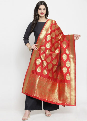 Rose Red Color Banarasi Women's Dupatta - 51193