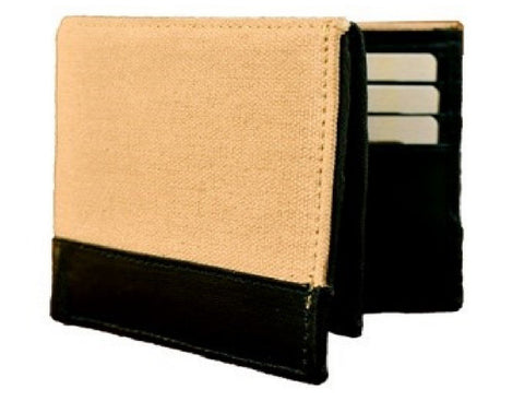 Beige Color Canvas Leather Mens Wallet - 511CANVASBI