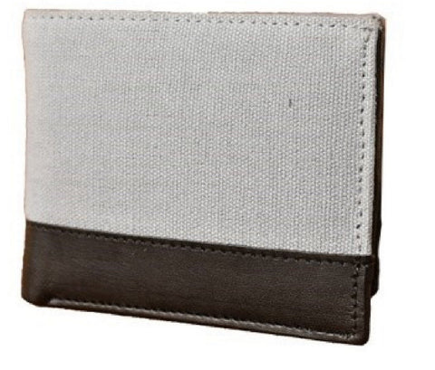 Grey Color Canvas Leather Mens Wallet - 511CANVASGR