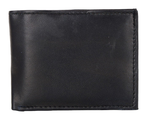 Black Color Genuine Leather Mens Wallet - 511RFID-BLK