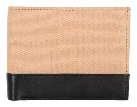Beige Color Canvas Leather Mens Wallet - 511RFID-CANVAS