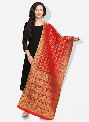Red Color Banarasi Silk Women's Dupatta - 52374