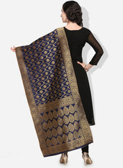 Navy Blue Color Banarasi Silk Women's Dupatta - 52376