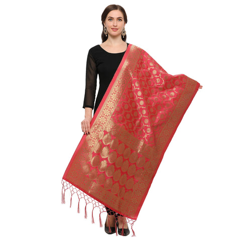 Red Color Banarasi Silk Women's Dupatta - 52382