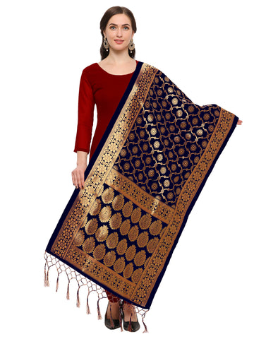 Navy Blue Color Banarasi Silk Women's Dupatta - 52383