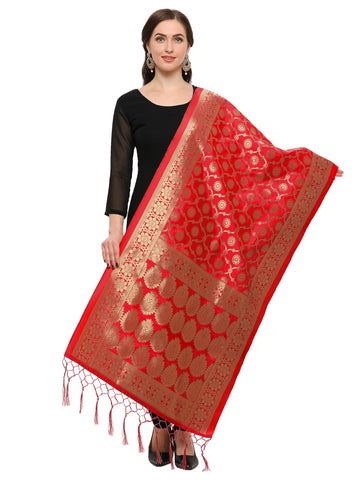 Red Color Banarasi Silk Women's Dupatta - 52384