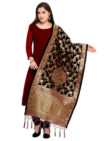 Black Color Banarasi Silk Women's Dupatta - 52385