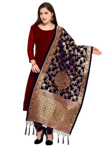 Navy Blue Color Banarasi Silk Women's Dupatta - 52386
